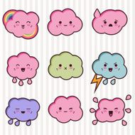 Collection of funny and cute happy kawaii clouds