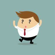 Vector of Happy Businessman with question mark sign in eyes