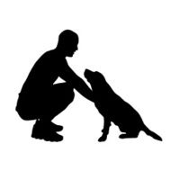 Vector silhouette of people with dog N33