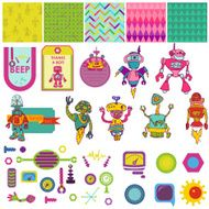 Funny Robots Theme - Scrapbook Design Elements