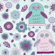 Funny hand drawn owls leaves and flowers Purple pink mint