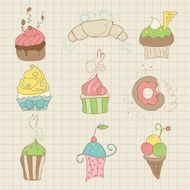 Set of Cute Cupcakes and Desserts N2