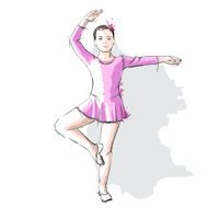 Ballerina little girl in a pink dress and pointe N3