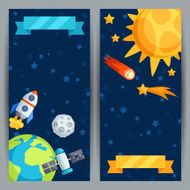 Vertical banners with solar system and planets