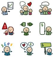 Little people finance and money concept icon set