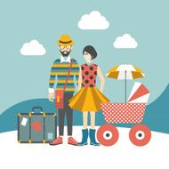 Hipster family concept Vector illustration N2