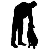 Vector silhouette of people with dog N36