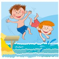 Cheerful children-Boys jump in water-illustration