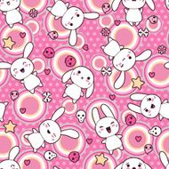 Seamless pattern with doodle Vector kawaii illustration N11