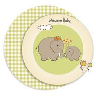 baby shower card with elephant and his mother N17