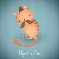 Cute cat in bowler hat with mustache