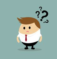 Vector of businessman with question mark concept on idea dilemma