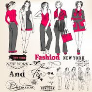 Fashion vector stylish girls silhouettes for design