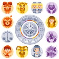 Zodiac icon set Fire Earth Air and Water sings