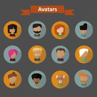 Vector people faces Icons set in Flat Style N2
