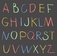Chalk color hand drawing alphabet on a blackboard