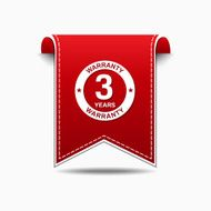 3 Years Warranty, Red and white banner