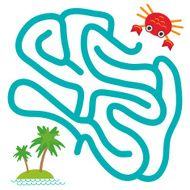 Red crab island with palm trees white background labyrinth game