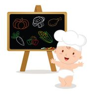 Little baby chef Baby boy with board