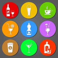 Drink flat icons set