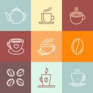 Vector set of coffee logos and icons N2