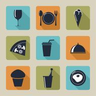 Set of icons with food and drinks