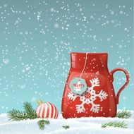 christmas theme red cup with abstract snowflake illustration