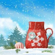 christmas theme red cup with abstract snowflake illustration N2