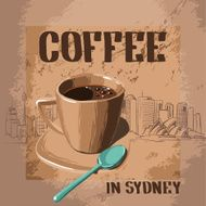 Cup of aromatic coffee in Australia