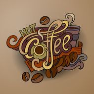 Coffee hand lettering and doodles elements N2