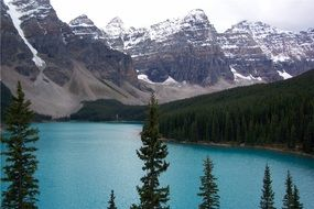 moraine lake - a glacial lake in Banff National Park