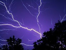 lightning on the violet sky