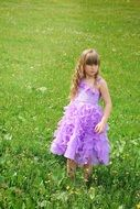 Little girl with curly long hair in a beautiful dress amid a meadow