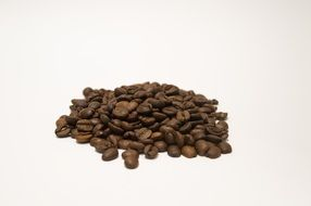 brown coffee beans on white background