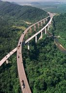scenic aerial view of rodovia anchieta highway, connection between São Paulo and the Atlantic coast, brazil