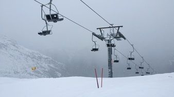 ski lift fog cable car chairlift