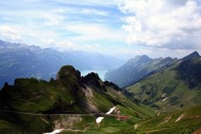 scenic alpine mountains under clouds, Switzerland, bernese oberland