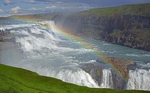 Magnificent gullfoss iceland waterfall rainbow view