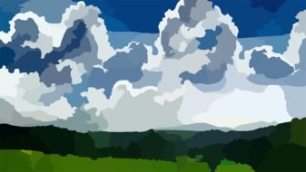 landscape clouds drawing