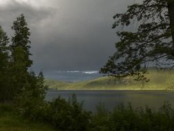 thunderstorm dark clouds canim lake