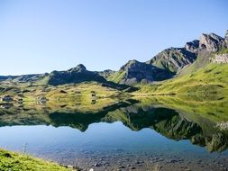 small lake in peaceful Swiss alps