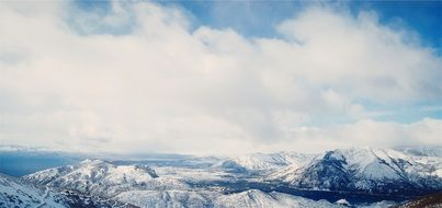 panorama of peaceful snowy mountains