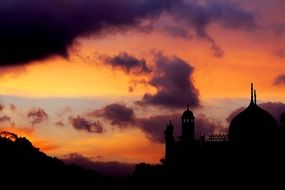 mosque sunset landscape silhouette