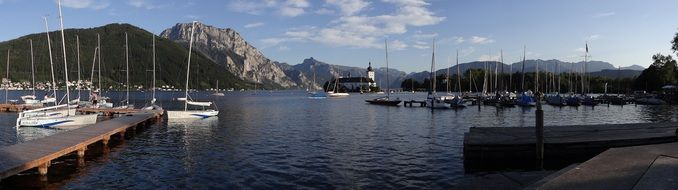Alpine lake Traunsee Gmunden panorama