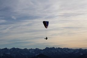 parachutist mountains parachute fly