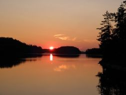 summer sunset at saimaa lake, finland