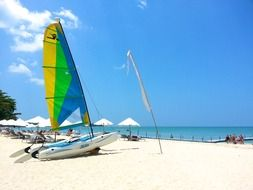 thailand beach sail on white sand