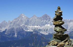 mountains dachstein cairns stone tower