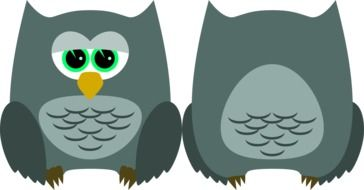 Graphics in the form of two owls