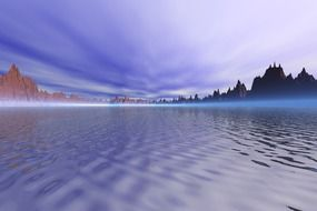 purple sky reflected in a blue mountain lake